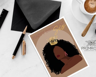 Happy Birthday Sis, Greeting Card, Birthday Card, Abstract, African American Queen, Afro