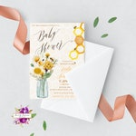 Digital Invitation, Baby Shower, Mommy To Bee, Bees Theme, Gender Neutral Baby Shower, Yellow Wildflowers, Mason Jar Rustic, Printable | 051