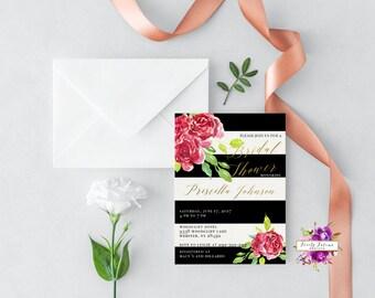 bridal shower invitation black and white striped red watercolor roses red black white gold printable digital invitation