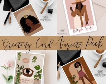 Sis Greeting Cards Variety Pack, Happy Birthday Sis, Congratulations Sis, Thinking Of You, Werk Sis,  African American Black Women Abstract