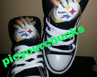 new product c7c0b ea9ab Adult Steelers Custom Converse