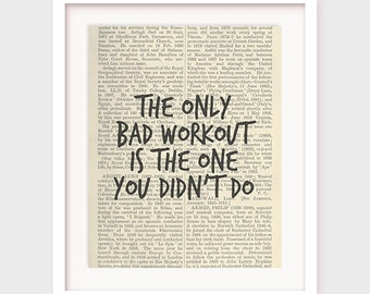 Motivational Fitness Poster, The Only Bad Workout is The One You Didn't Do, Gym Poster, Workout Motivation Print, Printable Download