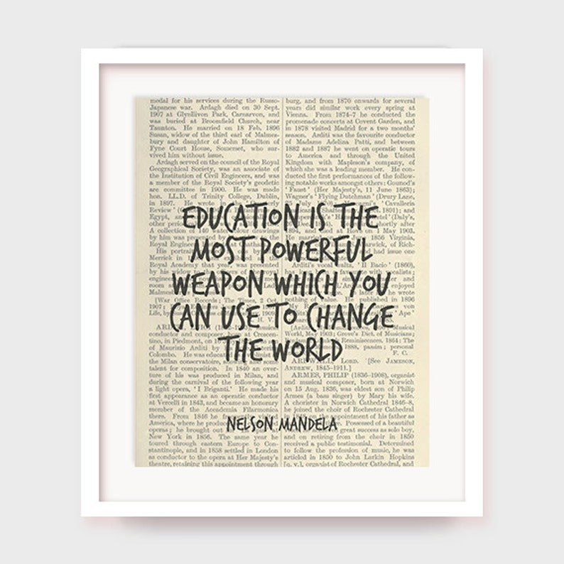 Educational Art Nelson Mandela Quote Art Education Is The Etsy