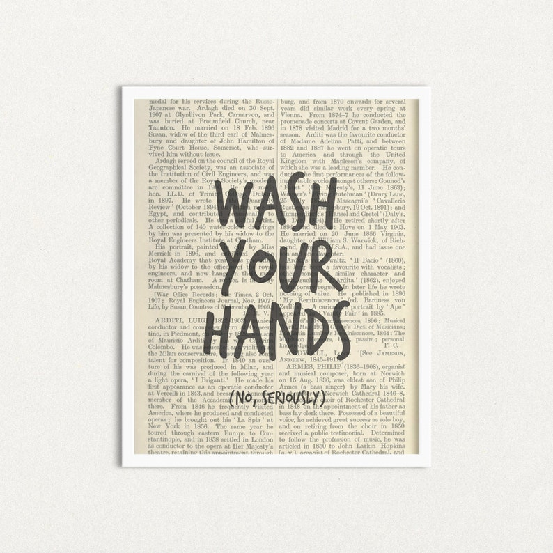 Funny Bathroom Art Print Wash Your Hands No Seriously image 0