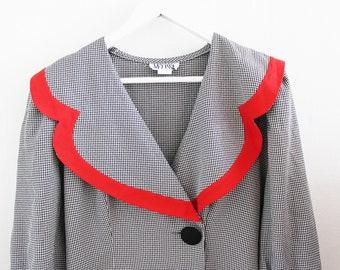 cute vintage dress navy mod retro sailor big collar gray red checked 12 8 Medium
