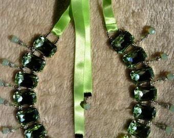 Stunning Jeweled Renaissance Inspired Necklace made with Authentic Swarovski Crystal