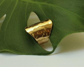 Hammered Wide Band Gold-Silver Statement Ring Minimalist Handmade