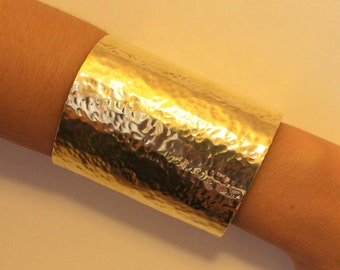 Hammered Long Wide Cuff Gold - Silver  statement Cuff wrist bracelet made of brass, aluminium ,Copper or german silver