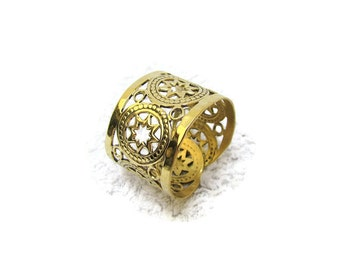 Boho Gold Perforated Statement Ring Handmade Cuff ring made of brass.