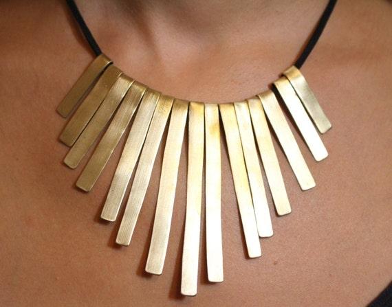 115cab03bc5dfb Bib Statement Necklace Handmade Gold Silver Bar Sticks | Etsy