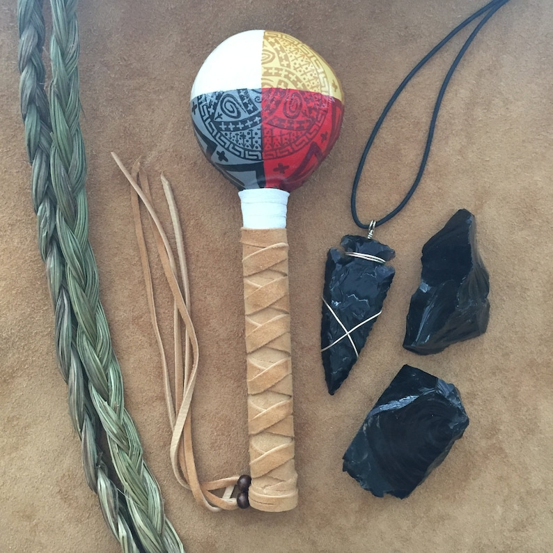 SYMBOLS of PROTECTION  Native American Shaman Rattle image 0