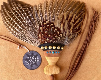 FAN of BLESSING - PHEASANT - Wings of Consecration, Blessing, Sacred Smoke, Prayer Hand Fan, Qodesh Fire, Clean Bird, Feathers, Turquoise