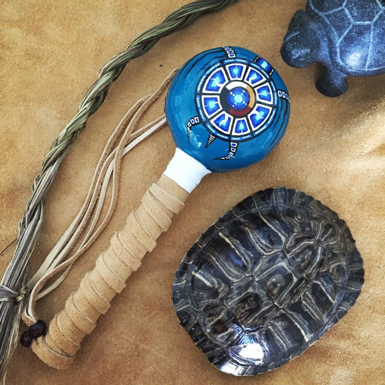 FOUR DIRECTIONS TURTLE  Native American Shaman Rattle image 0