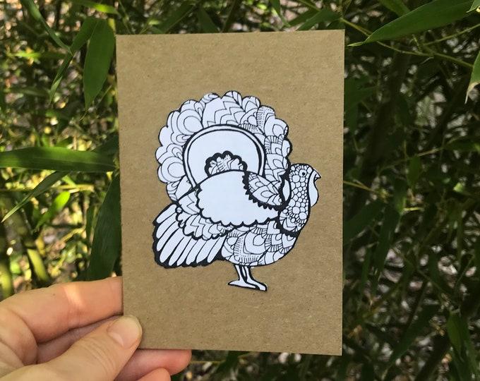 DIY Zen Doodle Turkey Printable (design, color, & craft)