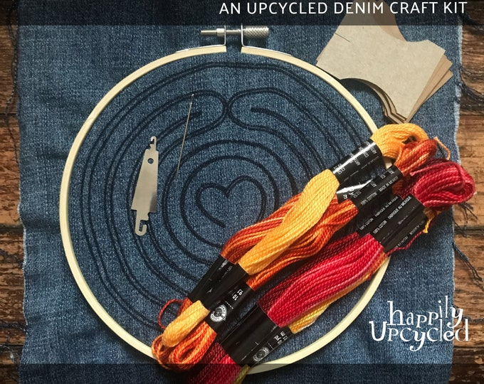 Finger Labyrinth Embroidery Pattern & Upcycled Denim Craft Kit
