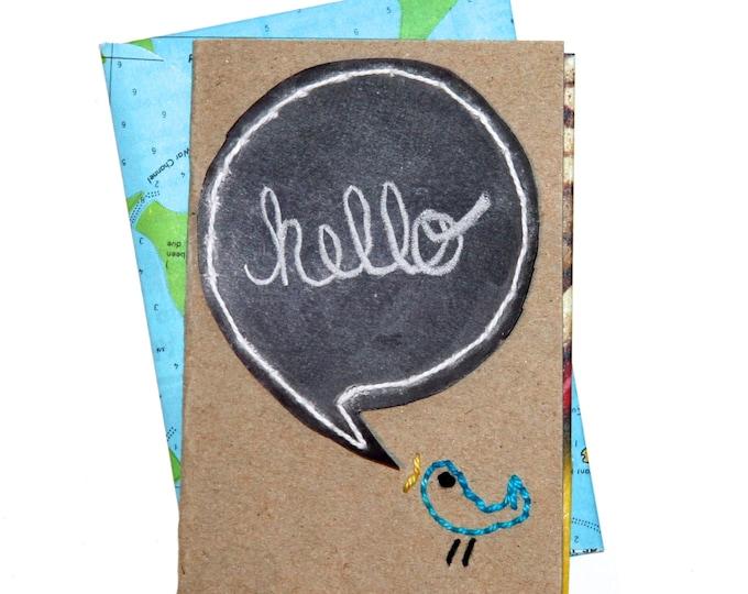 Upcycled Notecard: Hello Birdy!