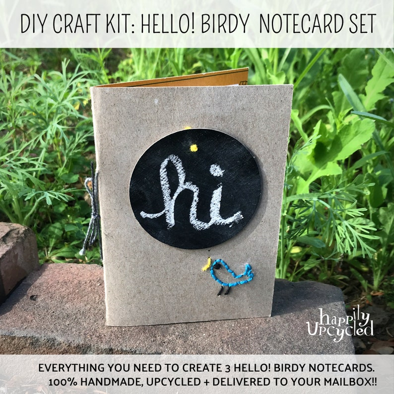 DIY Craft Kit: Hello Birdy Embroidered Notecard Gift Set image 0