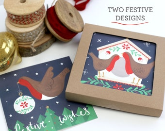 Boxed Set of Eight Festive Robin Christmas Cards