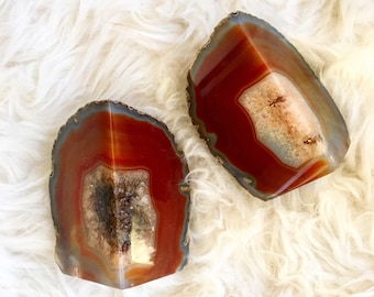 Authentic Vintage 70s/80s Agate Bookends | Stunning Orange