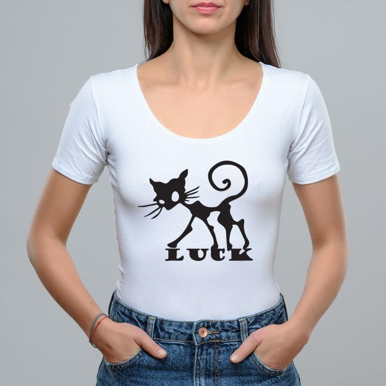 12d46ed18 Bodysuit Short Sleeve Lucky Cat shirt Women Top Blouse | Etsy