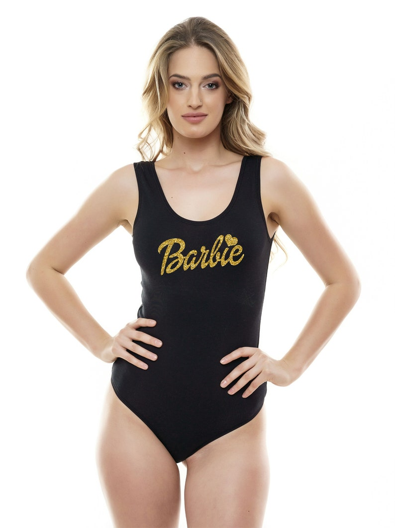 Barbie Bodysuit Women Top Blouse Sleeveless Personalized Body Outfit GOLD GLITTER barbie Tank Top Leotard Body Suit