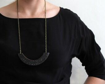 Barchan Necklace - Black Speckled Ceramic