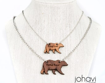 Mommy and Me Mama bear and baby bear Necklace set. Matching Walnut Mom and daughter necklace set with engraved Mama Bear and Baby Bear