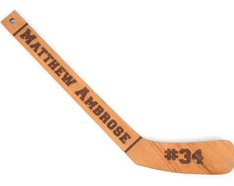 Personalized Wood Engraved Hockey Stick. Laser engraved custom gift. Hockey Coach, Player, First Goal, Award, MVP