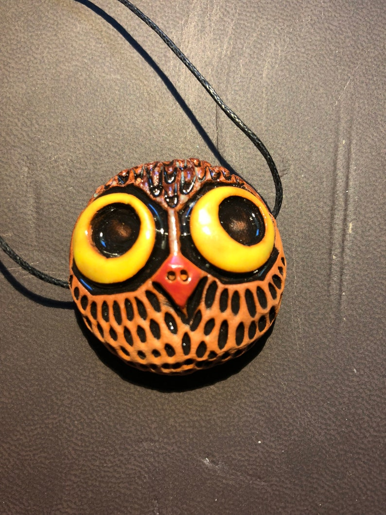 necklace terra cotta pottery ornament ceramic bead bird Owl pendant gypsy necklace glazed beads hippy gear bohemian