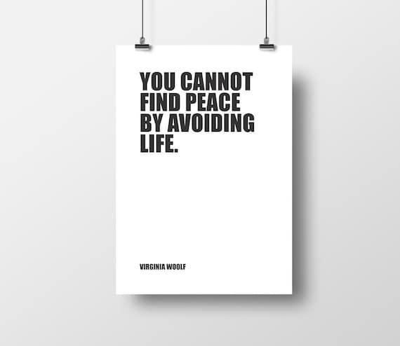 Virginia Woolf Cytat Książki Pokój życie Cytat życia Minimalistyczny Książki Inspirujące Cytat Typograficzne Drukuj Literackie Druku