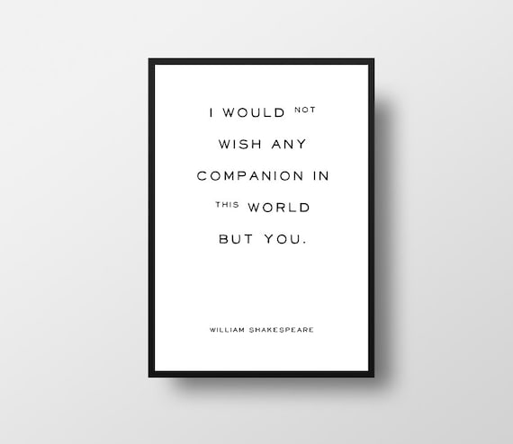 The Tempest Shakespeare Quote I Would Not Wish Typographic Etsy