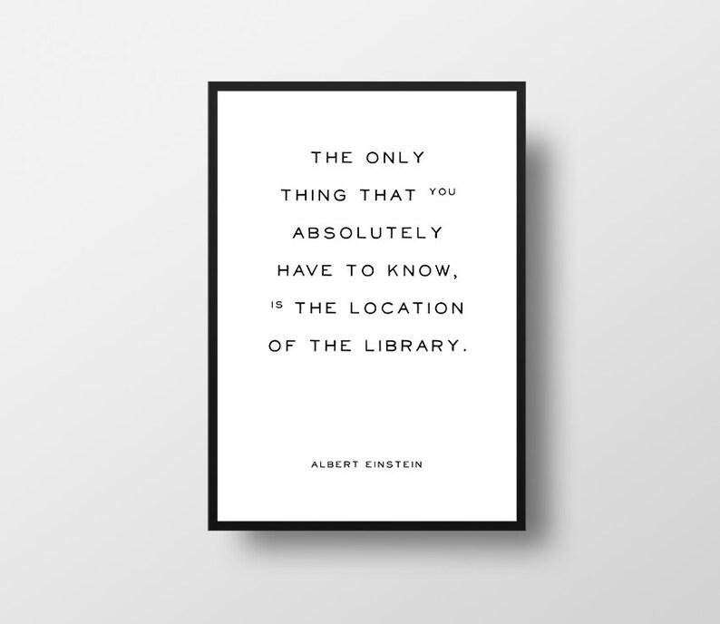 Library Quote Albert Einstein Literary Quote Minimalist Etsy