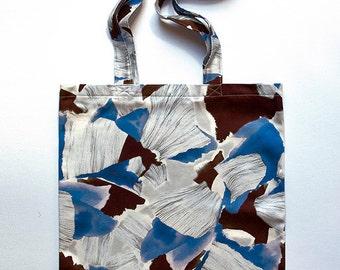 Printed cotton totebag, fabric bag, abstract natural print design, boho, floral pattern, handmade, digital print, blue, grey, brown, white