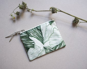 """Extra small printed pouch/wallet  """"Alpine"""", green pattern illustration"""
