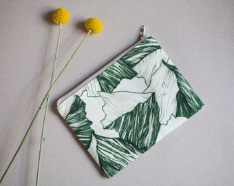"""Small printed cotton pouch/toiletry bag  """"Alpine"""", Green pattern"""