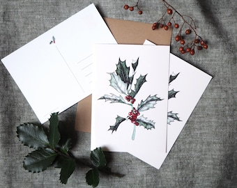Set of 3 botanical christmas cards with a holly branch