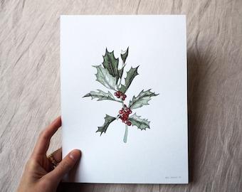 Original Botanical Illustration - Holly branch, Christmas, watercolor, pen drawing