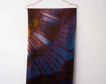 Printed silk satin scarf, square scarf, handmade pattern, natural, pumpkin print, blue, yellow, grey.