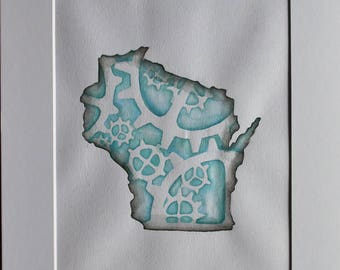 Unique Watercolor Painting of Wisconsin