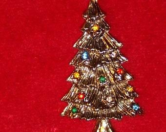 BROOCH (14) Christmas tree, signed BJ, circa 1950's