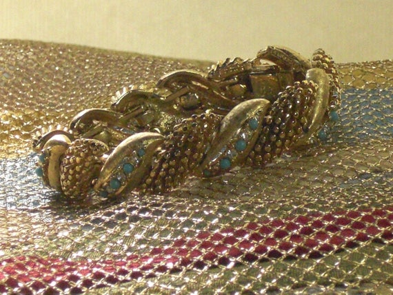 BOUCHER,Bracelet (204) articulated gold, turquoise