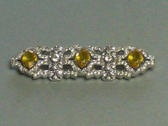 (186) Hairpin brooch, Crystal, Czechoslovakia circ