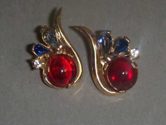 TRIFARI Earrings (221) of ruby cabochon earrings,… - image 3