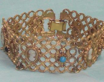 Bracelet (208) mesh Golden, cameo, Ruby, turquoise, signed Florenza, circa 1950