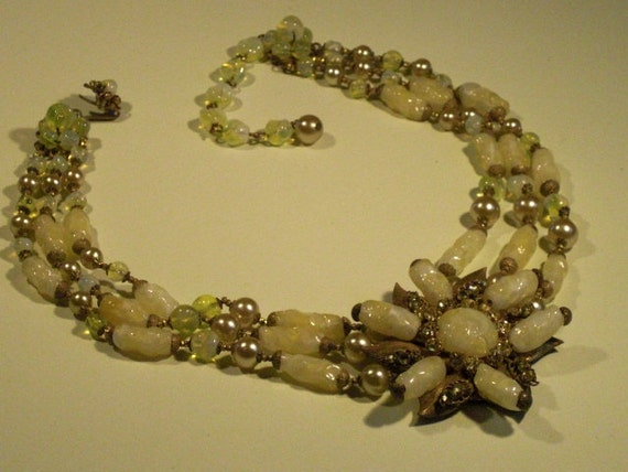 MIRIAM HASKELL Necklace 3 rows (75) star, signed M