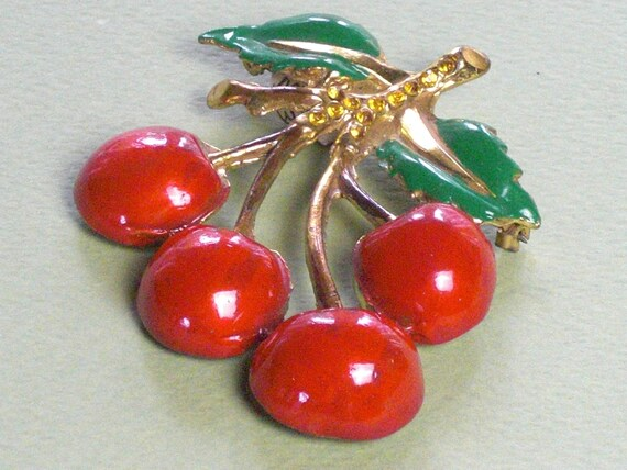 Brooch (180) enamelled with cherries, circa 1940's