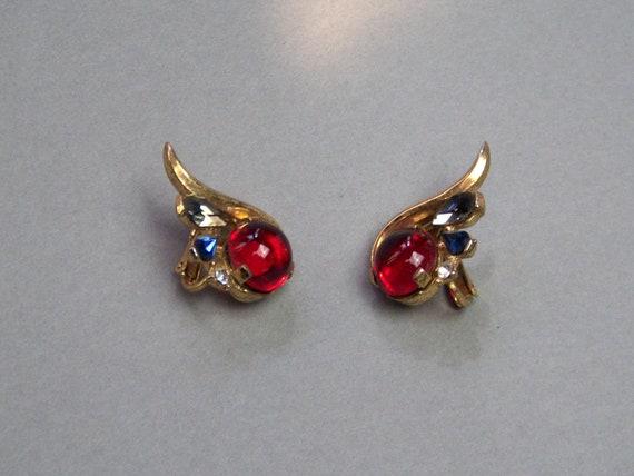 TRIFARI Earrings (221) of ruby cabochon earrings,… - image 1