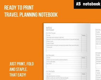 Travel planner printable + travel journal notebook - A5 minimal planner notebook - up to 7 day travel planner - ready to print