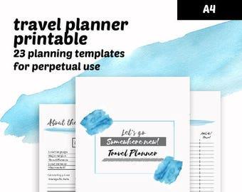 Instant Download Travel Planner printable - A4 planner printable - 23 templates traveler's notebook - undated travel planner