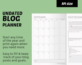 Blog planner printable - blog management notebook for printing - ready to use printables for perpetual use (undated) A4 notebook